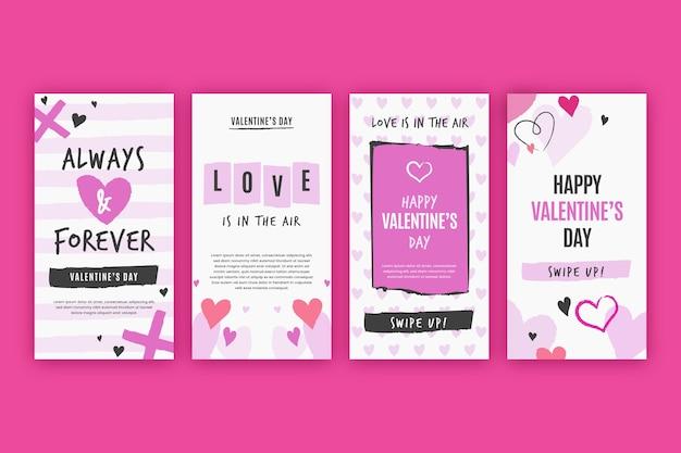 Pacote de história de venda do dia dos namorados
