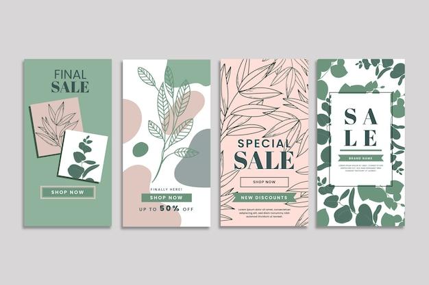 Pacote de história do instagram de venda de primavera