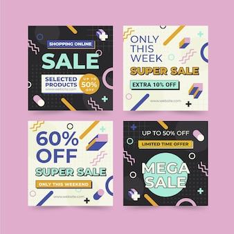 Pacote de história instagram de venda de design plano