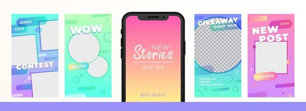 Pacote de histórias criativas para mídia social
