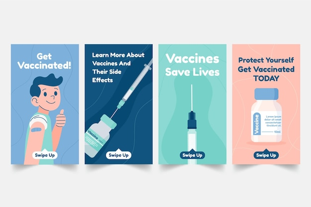 Pacote de histórias de instagram de vacina plana