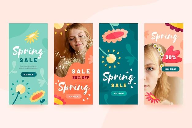 Pacote de histórias de mídia social de venda de primavera desenhada à mão