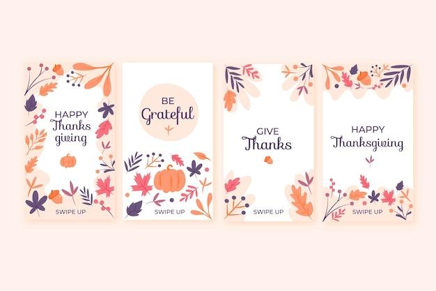 Pacote de histórias do instagram de ação de graças desenhada à mão