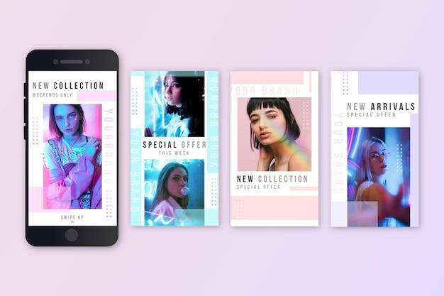 Pacote de histórias do instagram de venda de moda