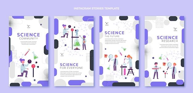Pacote de histórias ig de ciência design plano