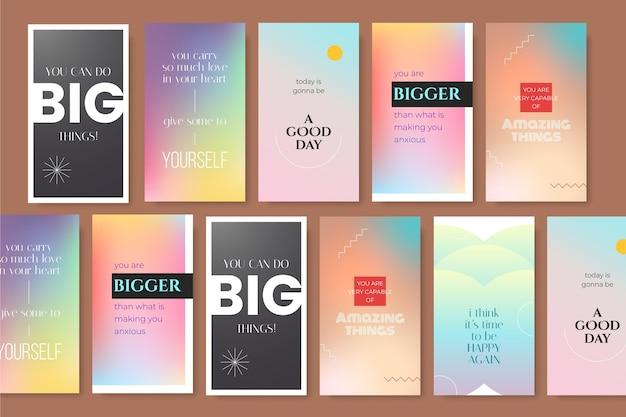 Pacote de histórias instagram de citações inspiradoras de gradiente