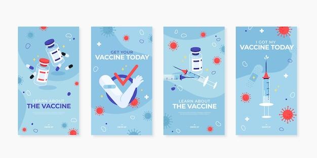 Pacote de histórias instagram de vacinas de design plano