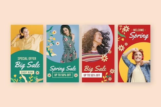 Pacote de histórias instagram de venda de primavera em design plano