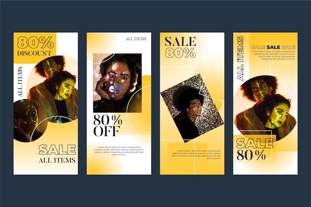 Pacote de histórias instagram de venda gradiente