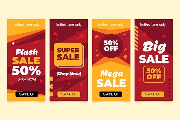 Pacote de histórias instagram de vendas de design plano