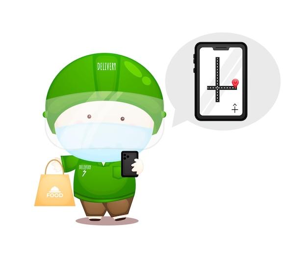 Pacote de homem de entrega bonito. serviço de entrega de comida online premium vector