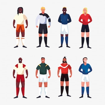 Pacote de homens de jogador de futebol em pé