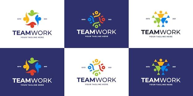 Pacote de ícone de logotipo de quatro pessoas de unidade redonda