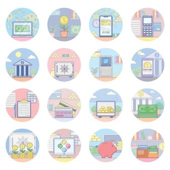 Pacote de ícones bancários e financeiros