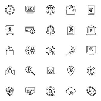 Pacote de ícones bitcoin, com estilo de ícone de estrutura de tópicos