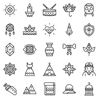 Pacote de ícones boho, com estilo de ícone de estrutura de tópicos