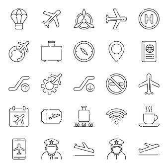 Pacote de ícones da aviação, com estilo de ícone de estrutura de tópicos