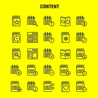 Pacote de ícones da linha de conteúdo