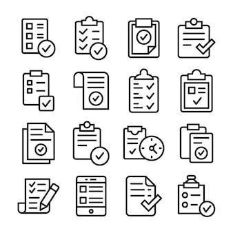 Pacote de ícones da lista de tarefas verificadas
