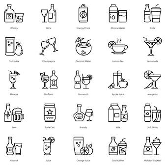 Pacote de ícones de bebida e coquetel