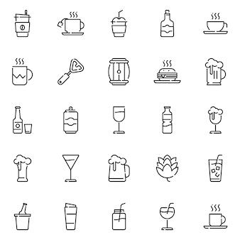 Pacote de ícones de bebidas, com estilo de ícone de estrutura de tópicos