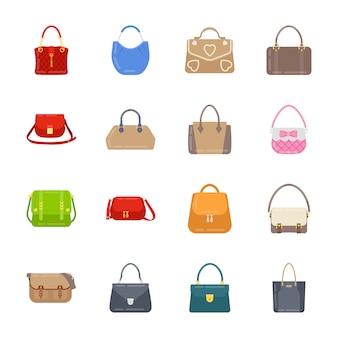 Pacote de ícones de bolsa de mulheres