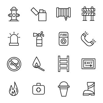Pacote de ícones de bombeiros, com estilo de ícone de estrutura de tópicos