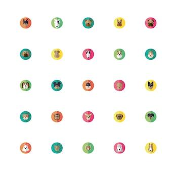 Pacote de ícones de cabeças de cães fofos