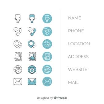 Pacote de ícones de cartão de visita