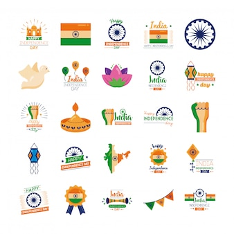 Pacote de ícones de celebração do dia da independência da índia
