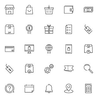 Pacote de ícones de comércio eletrônico, com estilo de ícone de estrutura de tópicos