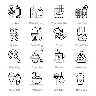 Pacote de ícones de comida de rua