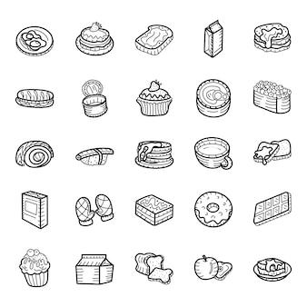 Pacote de ícones de comida deliciosa mão desenhada