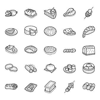 Pacote de ícones de comida em estilo esboçado