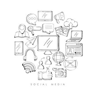 Pacote de ícones de conjunto de mídia social