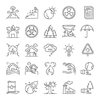 Pacote de ícones de desastre, com estilo de ícone de estrutura de tópicos