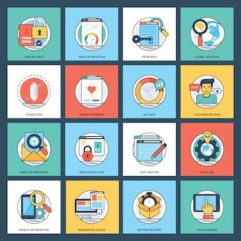Pacote de ícones de desenvolvimento web criativo