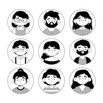Pacote de ícones de diferentes perfis de design plano