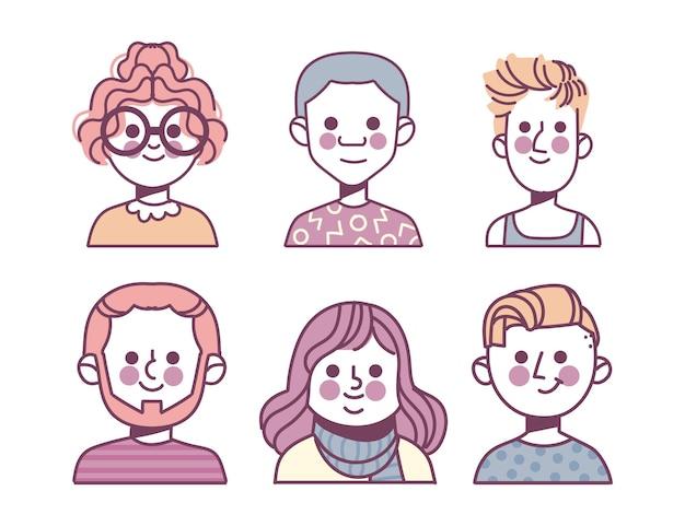 Pacote de ícones de diferentes perfis desenhados à mão