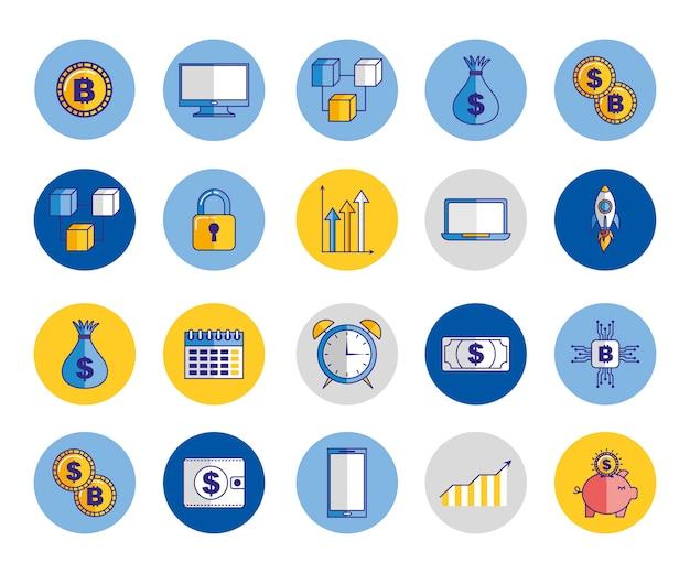 Pacote de ícones de economia e finanças