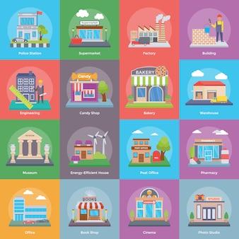 Pacote de ícones de edifícios e construção