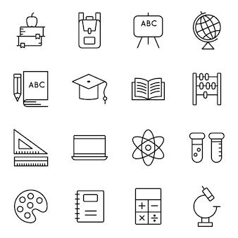 Pacote de ícones de educação, estilo de ícone de estrutura de tópicos