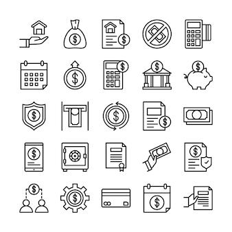 Pacote de ícones de empréstimos, com estilo de ícone de estrutura de tópicos