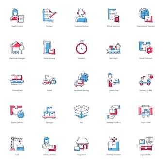 Pacote de ícones de envio e entrega