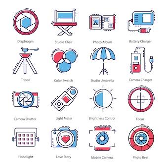 Pacote de ícones de equipamentos de fotografia