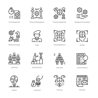 Pacote de ícones de estratégia e gestão