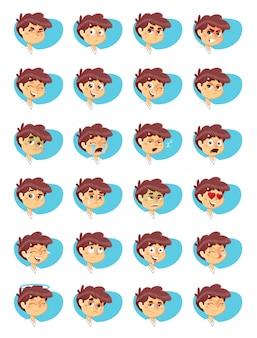 Pacote de ícones de expressões de menino