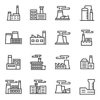 Pacote de ícones de fábrica, com estilo de ícone de estrutura de tópicos