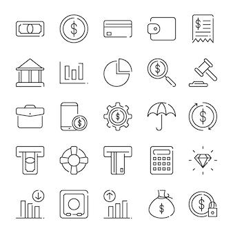 Pacote de ícones de finanças, com estilo de ícone de estrutura de tópicos