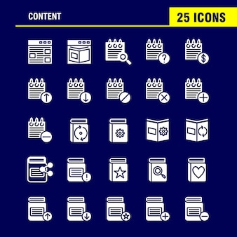 Pacote de ícones de glifo sólido de conteúdo